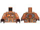 Part No: 973pb3715c01  Name: Torso SW Jumpsuit with 3 Gray and Orange Belts and Front Panel Pattern / Medium Dark Flesh Arms / Dark Brown Hands