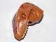 Part No: 98065pb01  Name: Dinosaur Head Raptor with Pin Hole, Tan Teeth and Dark Orange and Dark Brown Stripes Pattern