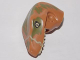 Part No: 98065pb03  Name: Dino Head Raptor with Pin Hole, Tan Teeth and Olive Green Blotches Pattern