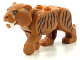 Part No: bb0787c03pb01  Name: Cat, Large (Saber-Toothed Tiger) with Light Yellow Eyes, Long Teeth and Reddish Brown Stripes Pattern