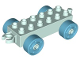 Part No: 11248c06  Name: Duplo Car Base 2 x 6 with Medium Azure Wheels with Fake Bolts and Open Hitch End