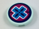 Part No: 14769pb198  Name: Tile, Round 2 x 2 with Bottom Stud Holder with Dark Azure Cross on Magenta Background Pattern (Elf Healer Sign) (Sticker) - Set 41187