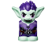 Part No: 28614pb05  Name: Body / Head Goblin with Pointed Ears, Dark Purple Spiked Hair and Tunic with Utility Belt with Goblin Eye Buckle, Hammer and Nails Pattern