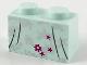 Part No: 3004pb210  Name: Brick 1 x 2 with Silver Flower Filigree, Magenta Flower, Stars and Dark Bluish Gray Dress Gather Lines Pattern
