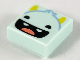 Part No: 3070bpb207  Name: Tile 1 x 1 with Groove with Smiling Monster Face, Yellow Horns, Black Eyes, Open Mouth, 2 Teeth and Red Tongue Pattern