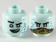Part No: 3626cpb2531  Name: Minifigure, Head Dual Sided Alien, Black Eyebrows, Orange Eyes, Metal Blue Triangles, Smile / Camo Handkerchief Over Mouth Pattern - Hollow Stud