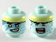 Part No: 3626cpb2550  Name: Minifigure, Head Dual Sided Alien, Light Yellow Headband, Yellow Eyes, Metal Blue Triangle Tattoos, Smile with Teeth / Singing Pattern - Hollow Stud