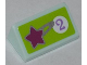 Part No: 85984pb025  Name: Slope 30 1 x 2 x 2/3 with Star and Purple Number 2 in White Circle on Lime Background Pattern (Sticker) - Set 41007
