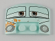 Part No: 93604pb01  Name: Wedge 3 x 4 x 2/3 Triple Curved Smooth with Half Open Eyes, Flowers, and Headlights Pattern (Fillmore)