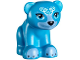 Part No: 14732pb04  Name: Bear, Friends / Elves, Baby Cub, Sitting with Black Nose, White Face Decorations and Medium Blue Paws and Muzzle Pattern (Blubeary)