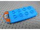 Part No: 24181pb01  Name: Duplo, Figure Wear & Utensil Blastboard / Hoverboard with White 'TTA' and Orange Rectangles Pattern