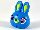 Part No: 49230pb01  Name: Minifigure, Head Modified Rabbit Large Head with Lime Auricles and Muzzle, Medium Lavender Eyes Pattern