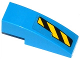 Part No: 50950pb075L  Name: Slope, Curved 3 x 1 with Black and Yellow Danger Stripes Cutout Pattern Left (Sticker) - Set 76020