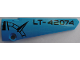 Part No: 64393pb039  Name: Technic, Panel Fairing # 6 Long Smooth, Side B with Black 'LT-42074' and Compass Point on Dark Azure Background Pattern (Sticker) - Set 42074