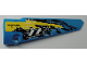 Part No: 64393pb042  Name: Technic, Panel Fairing # 6 Long Smooth, Side B with 'XRFUEL', 'TR TRACKED RACER' and Black, Yellow and White Splotches Pattern (Sticker) - Set 42095