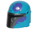 Part No: 87610pb13  Name: Minifigure, Headgear Helmet with Holes, SW Mandalorian with Silver and Dark Purple Pattern