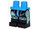 Part No: 970c11pb27  Name: Minifigure, Legs with Hips - Black Legs with Dark Azure and Silver Circuitry and Knee Pads Pattern