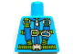 Part No: 973pb1410  Name: Torso Blue and Lime Parachute Harness Straps and Silver Buckles Pattern