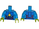 Part No: 973pb1851c01  Name: Torso Space Armor with 5 Yellow Lights Pattern / Dark Azure Arms / Lime Hands