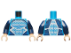 Part No: 973pb1955c01  Name: Torso Muscles Outline with Black, Blue and White Suit with Light Blue Dots Pattern (Quicksilver) / Dark Blue Arms / Light Nougat Hands