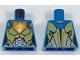 Part No: 973pb2729  Name: Torso Female Nexo Armor Gold and Silver with Dragon Head on Orange Pentagonal Shield Pattern