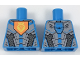 Part No: 973pb2897  Name: Torso Nexo Knights Armor with Orange Emblem with Yellow Crowned Lion, Silver Panels, Dark Azure Hexagon  Pattern