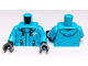 Part No: 973pb3412c01  Name: Torso Jacket, Orange Zippers and Drawstrings with White 'X' Pattern / Dark Azure Arms / Black Hands