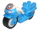 Part No: dupmc3pb07  Name: Duplo Motorcycle with Rubber Wheels, Headlights and Captain America Star Pattern