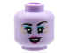 Part No: 3626cpb2787  Name: Minifigure, Head Female Black Eyebrows, Dark Turquoise Eye Shadow, Gold Star Freckles, Magenta Lips and Open Smile Pattern - Hollow Stud
