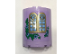 Part No: 87926pb015  Name: Cylinder Half 3 x 6 x 6 with 1 x 2 Cutout with Curved Lattice Window, Bright Light Blue Flowers and Green Leaves Pattern (Sticker) - Set 41154