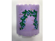 Part No: 87926pb016  Name: Cylinder Half 3 x 6 x 6 with 1 x 2 Cutout with Pearl Gold Brick Wall, Bright Light Blue Flowers and Green Leaves Pattern (Sticker) - Set 41154