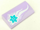 Part No: 88930pb081  Name: Slope, Curved 2 x 4 x 2/3 with Bottom Tubes with Azure Flower and White Swirls on Lavender Background Pattern (Sticker) - Set 41013