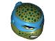 Part No: 16640pb03  Name: Minifigure, Head Modified Ninja Turtle Type 2 with Dark Azure Mask, Dark Green Spots and Teeth Pattern (Leonardo)