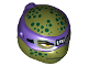 Part No: 16640pb04  Name: Minifigure, Head Modified Ninja Turtle Type 2 with Dark Purple Mask and Dark Green Spots Pattern (Donatello)