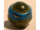 Part No: 16640pb05  Name: Minifigure, Head Modified Ninja Turtle Type 2 with Dark Azure Mask, Dark Green Spots and Closed Mouth Pattern (Leonardo)