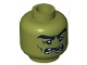 Part No: 3626cpb0772  Name: Minifigure, Head Alien with Monster with Thick Eyebrows, Green Facial Lines, Open Mouth Missing Teeth Pattern - Hollow Stud