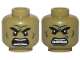 Part No: 3626cpb2221  Name: Minifigure, Head Dual Sided Alien Black Bushy Eyebrows, Dark Green Lines, Raging / Scowl Pattern (Hulk) - Hollow Stud