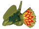 Part No: 38944pb01  Name: Dino Head Dilophosaurus with Dark Green and Dark Red and Yellow on Frill Pattern