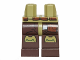 Part No: 970c120pb04  Name: Hips and Dark Brown Legs with Olive Green Knee Pads and Reddish Brown Bag Pattern