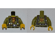 Part No: 973pb0990c01  Name: Torso Dino Shirt and Harness, Dark Red Undershirt with 'D' Pattern / Olive Green Arms / Yellow Hands