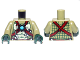 Part No: 973pb1361c01  Name: Torso Bare Chest with Muscles, Dark Red Straps, White Spikes and Dark Azure Round Jewel (Chi) Pattern / Olive Green Arms / Dark Green Hands