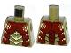 Part No: 973pb1457  Name: Torso Galaxy Squad Mantizoid with Dark Red, Yellowish Green and Black Exoskeleton Pattern