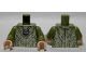 Part No: 973pb1546c01  Name: Torso Robe with Silver and Olive Green Chain Mail and Pendant Pattern / Olive Green Arms / Light Flesh Hands