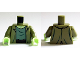 Part No: 973pb2068c01  Name: Torso Jacket Ragged with Sand Green T-Shirt with Reddish Brown Waist Sash Pattern (Zombie) / Olive Green Arms / Yellowish Green Hands