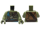 Part No: 973pb2158c01  Name: Torso Turtle Shell with Dark Brown Belts and Dark Azure Bandana Pattern / Olive Green Arms / Olive Green Hands