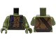 Part No: 973pb2159c01  Name: Torso Turtle Shell with Dark Brown Belt, Black Straps and Purple Bandana Pattern / Olive Green Arms / Olive Green Hands