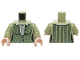 Part No: 973pb2175c01  Name: Torso Female Outline, Green Cabled Cardigan Sweater with Collared Shirt Pattern / Olive Green Arms / Light Nougat Hands