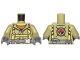 Part No: 973pb2453c01  Name: Torso Volcano Explorer Jumpsuit with Dark Bluish Gray Belt and Yellow Harness Front, Volcano Logo Back Pattern / Olive Green Arms / Dark Bluish Gray Hands