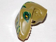 Part No: 98065pb02  Name: Dino Head Raptor with Pin Hole, Tan Teeth and Dark Green and Lime Stripes Pattern