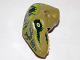 Part No: 98065pb04  Name: Dino Head Raptor with Pin Hole, Tan Teeth and Dark Green Stripes over Lime Pattern